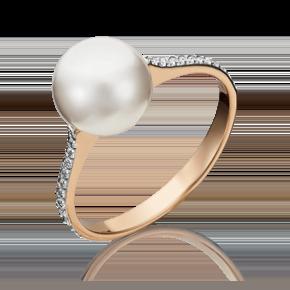 Кольцо из красного золота с жемчугом культивированным и фианитом 01-5336-00-302-1110-31