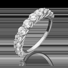 Кольцо из белого золота с фианитом огр.SW 01-5413-00-501-1120-38