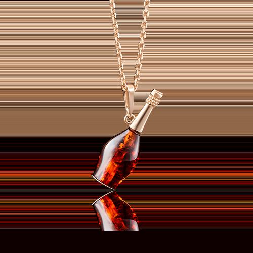 Подвеска из красного золота с янтарём 03-2721-00-271-1110-46