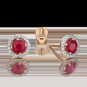 Серьги-пусеты из красного золота с рубином и бриллиантом 02-0697-00-107-1110-30