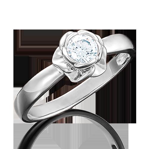 Помолвочное кольцо из белого золота с фианитом огр.SW 01-4976-00-501-1120-38