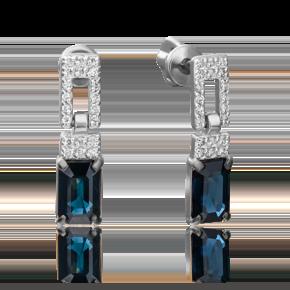 Серьги-пусеты из белого золота с сапфиром и бриллиантом 02-0914-00-105-1120-30
