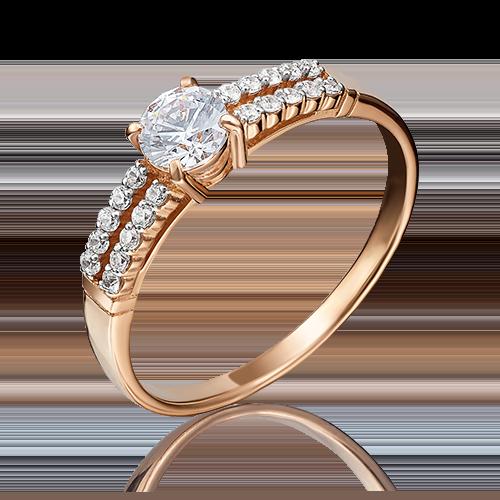 Помолвочное кольцо из красного золота с фианитом огр.SW 01-1149-00-501-1110-38