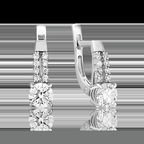 Серьги с английским замком из белого золота с бриллиантом 02-0631-00-101-1120-30