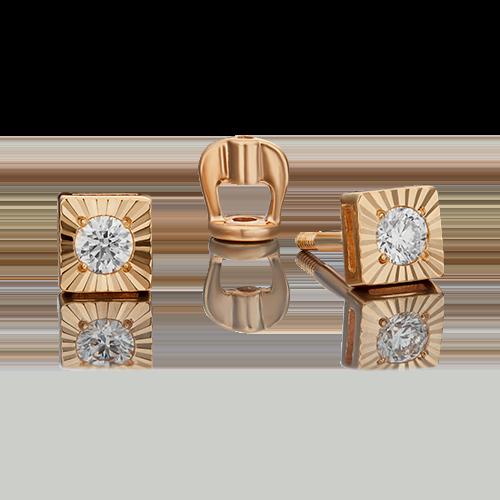 Серьги-пусеты из красного золота с бриллиантом 02-0644-00-101-1110-30