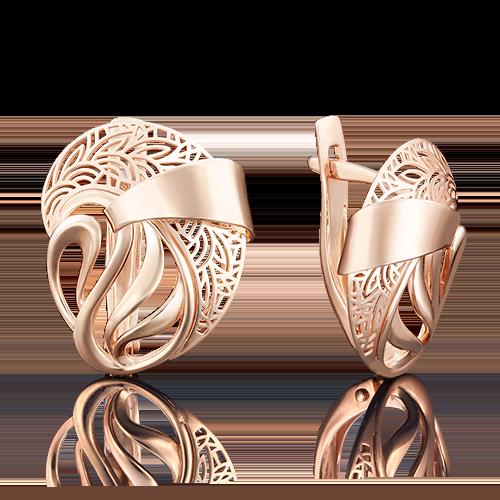 Серьги с английским замком из красного золота 02-3839-00-000-1110-48