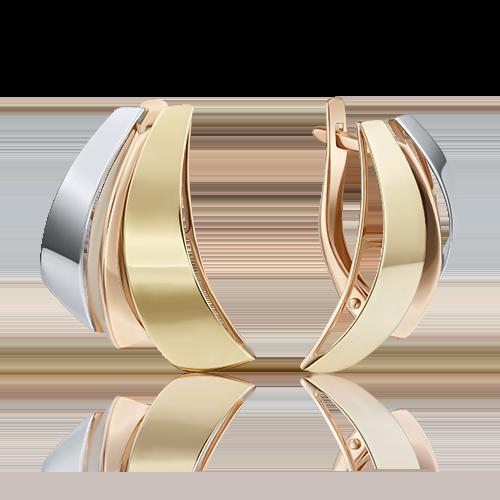 Серьги с английским замком из комбинированного золота 02-3840-00-000-1140-48