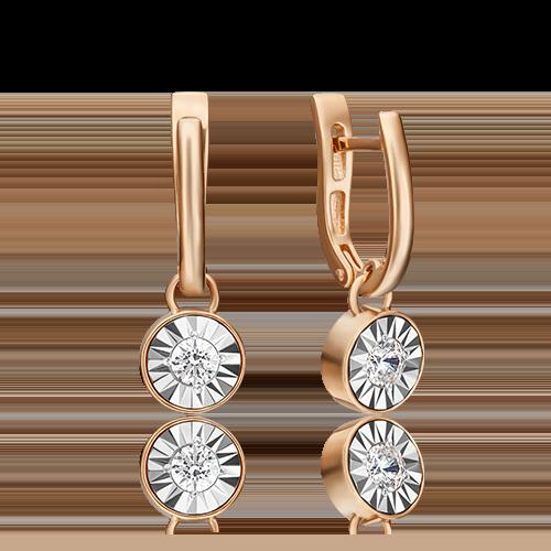 Серьги с английским замком из комбинированного золота бриллиантом 02-4531-00-101-1111-30