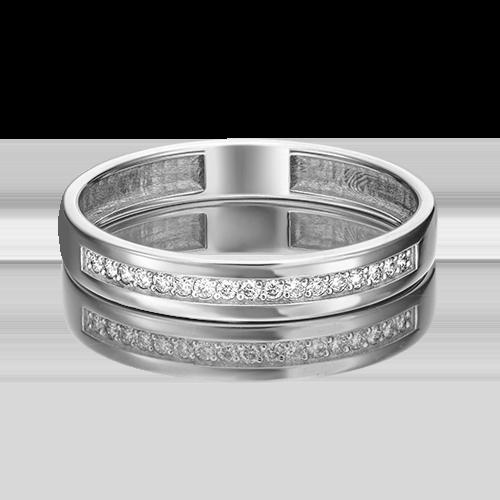 Обручальное кольцо из белого золота с бриллиантом 01-1484-00-101-1120-30