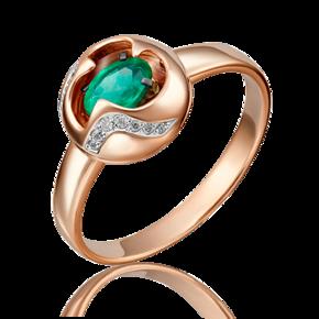 Кольцо из красного золота с изумрудом и бриллиантом 01-5146-00-106-1110-30