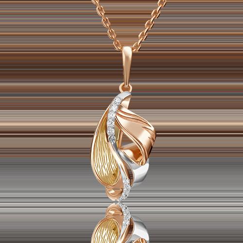 Подвеска из комбинированного золота фианитом 03-2858-00-401-1113-48