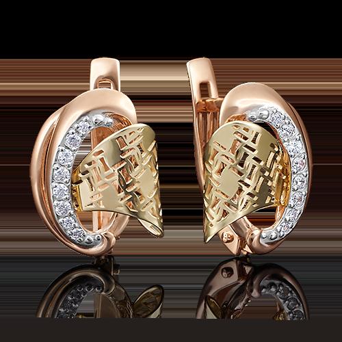 Серьги с английским замком из комбинированного золота фианитом 02-3857-00-401-1113-48