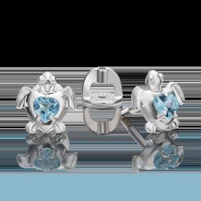 Серьги-пусеты из серебра с топазом 02-4629-00-201-0200-68