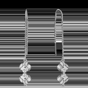 Серьги-продевки из белого золота с фианитом огр.SW 02-3735-00-501-1120-38