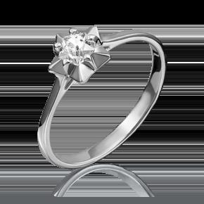 Помолвочное кольцо из белого золота с фианитом огр.SW 01-4797-00-501-1120-38