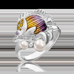 Кольцо из серебра с жемчугом культивированным и эмалью 01-5488-00-301-0200-68