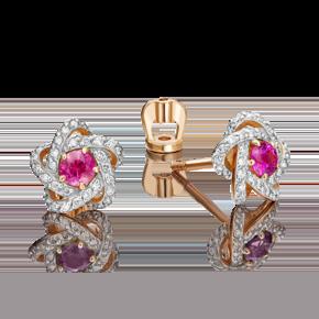 Серьги-пусеты из красного золота с рубином и бриллиантом 02-0775-00-107-1110-30