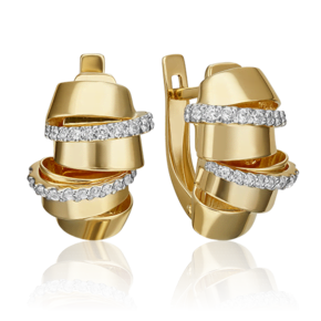Серьги с английским замком из лимонного золота с фианитом 02-4586-00-401-1130-48