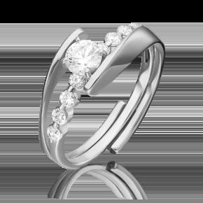 Наборное кольцо из белого золота с фианитом огр.SW 13-0013-00-501-1120-38