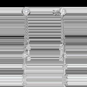 Серьги-пусеты из серебра с фианитом 02-4454-00-401-0200-69
