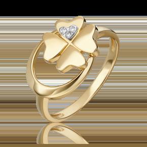 Кольцо из лимонного золота с бриллиантом 01-5498-00-101-1121