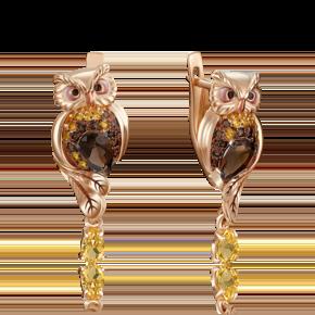 Серьги с английским замком из красного золота с кварцем дымчатым, цитрином и эмалью 02-4128-00-226-1110-57