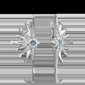 Серьги из серебра с топазом и топазом white 02-4752-00-201-0200-68