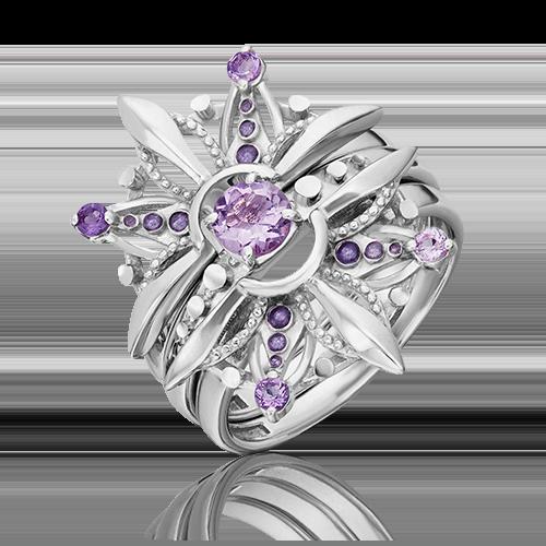 Кольцо из серебра с аметистом и эмалью 01-5473-00-203-0200-69