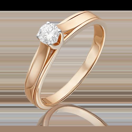 Помолвочное кольцо из красного золота с бриллиантом 01-5029-00-101-1110-30