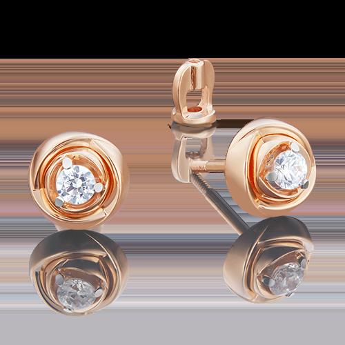 Серьги-пусеты из красного золота бриллиантом 02-3931-00-101-1110-30