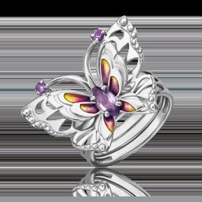 Кольцо из серебра с аметистом и эмалью 01-5482-00-203-0200-69