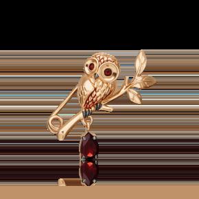 Брошь из красного золота с гранатом и эмалью 04-0254-00-204-1110-57