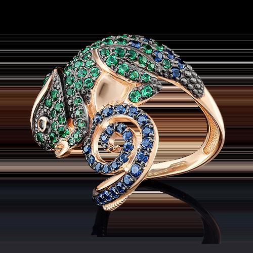 Кольцо из красного золота фианитом 01-4857-00-404-1110-52