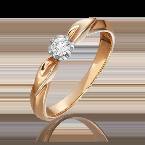 Кольцо из комбинированного золота с бриллиантом 01-0956-00-101-1111-30