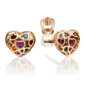 Серьги-пусеты из красного золота с аметистом, хромдиопсидом, гранатом, цитрином и топазом 02-4565-00-728-1110-57
