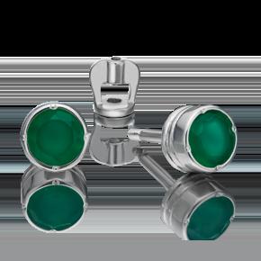 Серьги-пусеты из серебра с халцедоном 02-4652-00-274-0200-68
