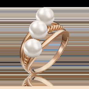 Кольцо из красного золота с жемчугом культивированным 01-5331-00-301-1110-31