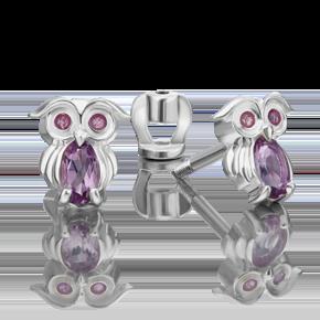 Серьги-пусеты из серебра с аметистом и эмалью 02-4648-00-203-0200-68