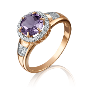 Кольцо из красного золота с аметистом и фианитом 01-4253-00-209-1110-46