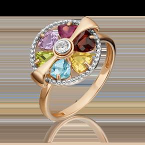 Кольцо из красного золота с хризолитом, гранатом, цитрином, топазом, аметистом и топазом white 01-5386-00-252-1110-57