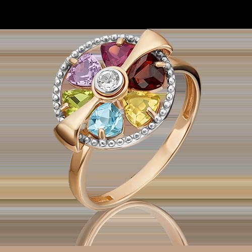 Кольцо из красного золота с хризолитом, гранатом, цитрином, топазом и аметистом 01-5386-00-252-1110-57