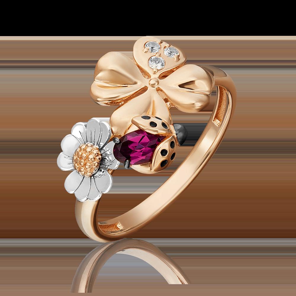 Кольцо из комбинированного золота с гранатом, топазом white и эмалью 01-5460-00-264-1111-76