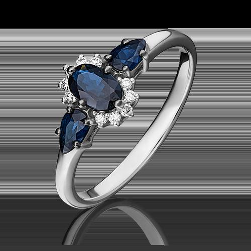 Кольцо из белого золота с сапфиром и бриллиантом 01-1454-00-105-1120-30