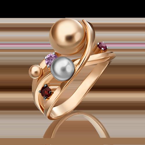 Кольцо из комбинированного золота с аметистом и гранатом 01-5477-00-257-1111-76