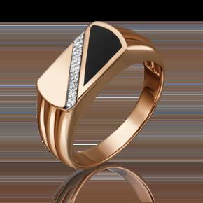 Печатка из красного золота с фианитом и эмалью 01-4541-00-401-1110-25