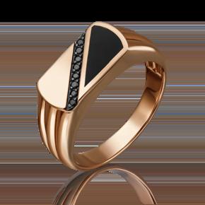 Печатка из красного золота с фианитом и эмалью 01-4541-00-402-1110-25