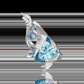 Брошь из серебра с топазом и эмалью 04-0258-00-201-0200-69