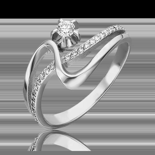 Кольцо из белого золота с бриллиантом 01-0006-00-101-1120-30