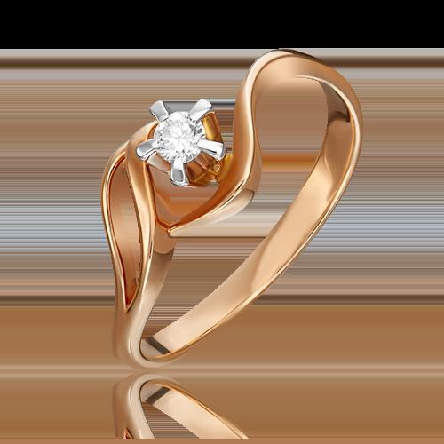 Кольцо из комбинированного золота с бриллиантом 01-0019-00-101-1111-30