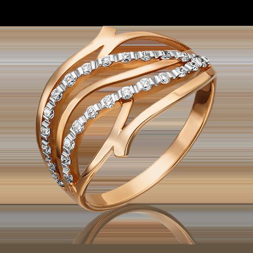 Кольцо из красного золота с бриллиантом 01-0036-00-101-1110-30